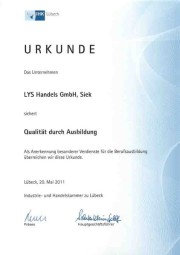 Lys Personalservice Urkunde IHK